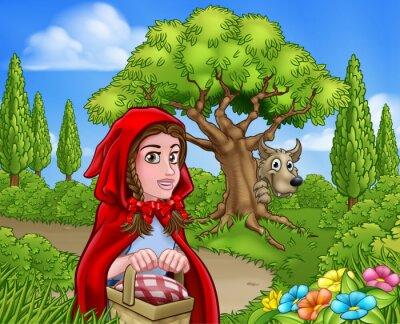 Affisch Little Red Riding Hood och Wolf Scene
