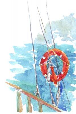 Affisch livboj ocean vattenfärg havet illustration
