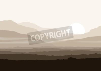 Affisch Livlös landskap med enorma berg över solen. Vektor panorama eps10.