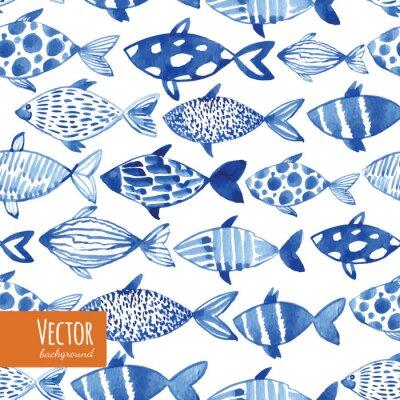 Affisch Ljus vattenfärg blå fiskar på svart bakgrund.