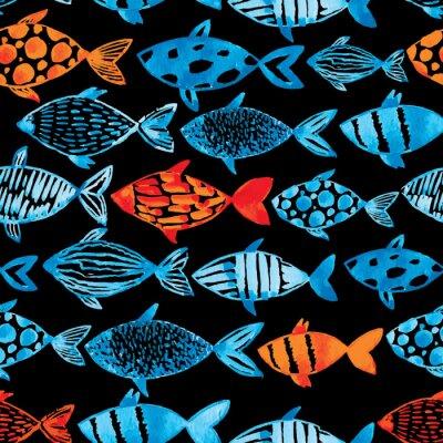 Affisch Ljus vattenfärg blått och guld fiskar på svart bakgrund.