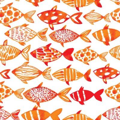 Affisch Ljus vattenfärg guldfiskar. Sömlöst kakel fisk mönster. ve