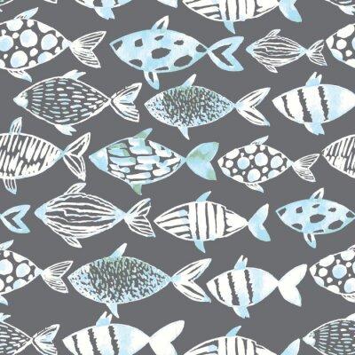 Affisch Ljus vattenfärg vita fiskar på grå bakgrund.
