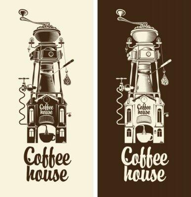 Affisch Logga Retro kaffe hus och kvarn med tak