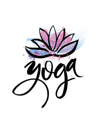 Affisch Logo för yoga studio eller meditation klass. Spa logo konstruktion vattenfärg element. Meditation koncept. Silhuett lotos. Vektor för t-shirt tryck