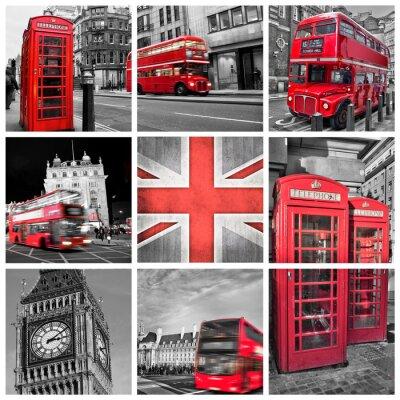 Affisch London bilder collage, selektiv färg