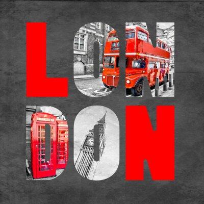 Affisch London bokstäver med bilder på svart bakgrund