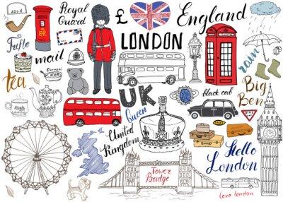 Affisch London City klotter element samling. Handritad in med, Tower Bridge, krona, stora ben, kunglig vakt, röd buss och svart cab, Storbritannien karta och flagga, tekanna, bokstäver, vektor illustration is