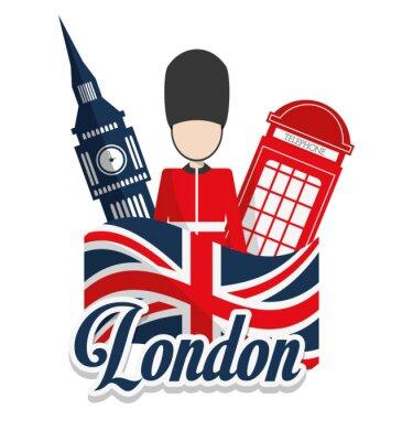 Affisch London landmärken konstruktion