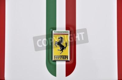 Affisch LONDON - SEPTEMBER 4, 2011: Ferrari logo, italienska flaggan målad på karossen av en Ferrari 360 Challenge Stradale