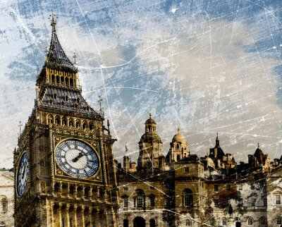 Affisch London Skriva Vintage