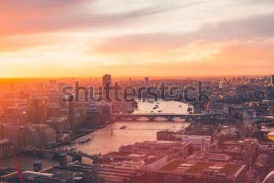 Affisch London Skyline - Thames - Sunset - Summer - Sky Garden - Orange