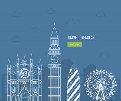 Affisch London, Storbritannien platta ikoner konstruktion resekoncept. london