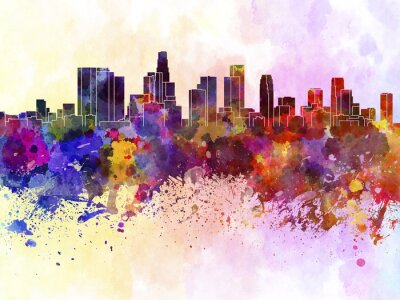 Affisch Los Angeles horisont i vattenfärg bakgrund