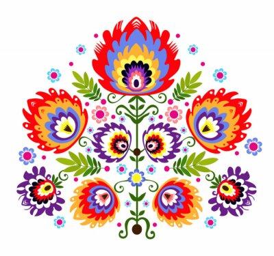 Affisch Ludowy wzór - kwiaty
