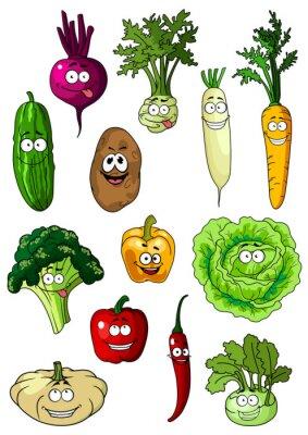 Affisch Lycklig leende färska trädgård grönsaker