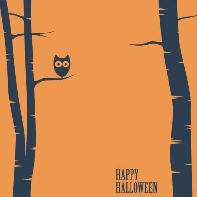 Affisch Lyckliga halloween kort med owlsammanträde på träd. semester vykort