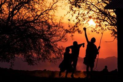 Affisch Maasai Barn Silhouette