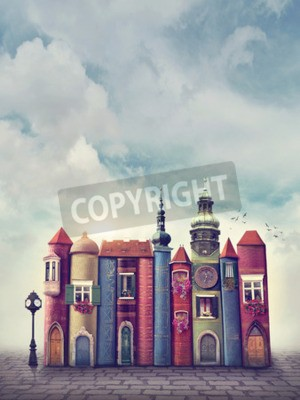 Affisch Magiska stad med gamla böcker