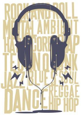 Affisch målad hörlurar