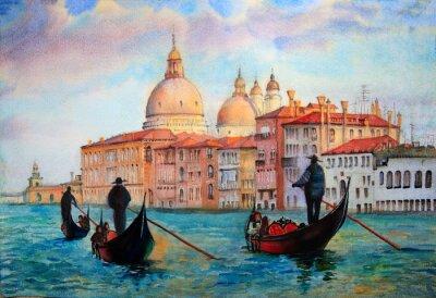 Affisch Målning av Venedig Italien som målas av vattenfärg