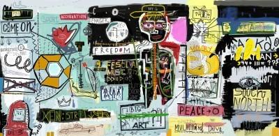 Affisch Målningen, som innehåller en mängd olika tecken