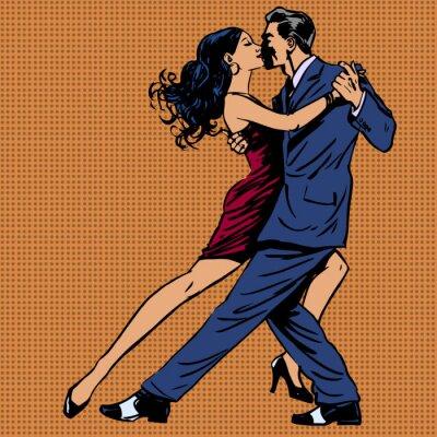 Affisch man och kvinna kyss dans tango popkonst