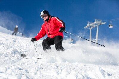 Affisch Man skidåkare skidåkning vid skidorten