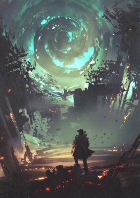 Affisch man with futuristic arm looking at glowing spiral wind over the ruined city, digital art style, illustration painting