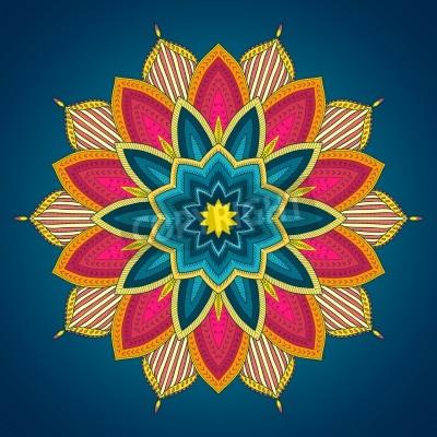 Affisch Mandala. Etnisk spets runt dekorativt mönster. Vackra handritad blomma. Kan användas för att textildesign, dekorativa papper, webbdesign, broderi, tatuering, etc.