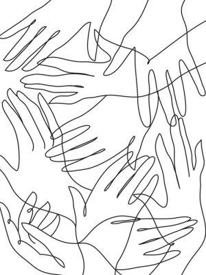 Affisch Många händer linje konst ritning