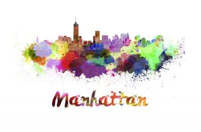 Affisch Manhattans skyline i vattenfärg