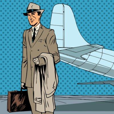 Affisch Manliga passagerar resenärer affärsresa affärsman popkonst re