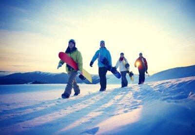 Affisch Människor Snowboard vintersport Vänskap Concept