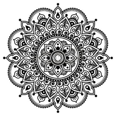 Affisch Mehndi, indisk Henna tatuering mönster eller bakgrund