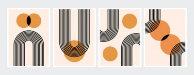 Affisch Mid century abstract contemporary aesthetic design  set with geometric balance shapes, modern minimalist artprint.