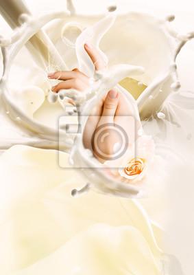 Affisch Milk and hands. Creative illustration