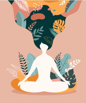 Affisch Mindfulness, meditation and yoga background in pastel vintage colors - women sitting with crossed legs and meditating.