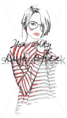 Affisch mode skiss ritning tjej med akvarell