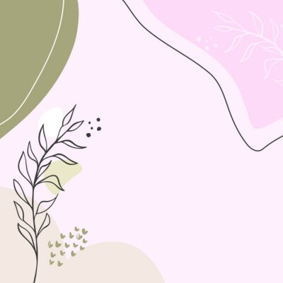 Affisch Modern abstract floral art vector leaves background.