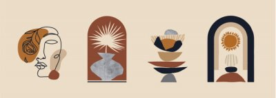 Affisch Modern minimalist abstract aesthetic illustrations. Bohemian style wall decor. Collection of contemporary artistic prints.