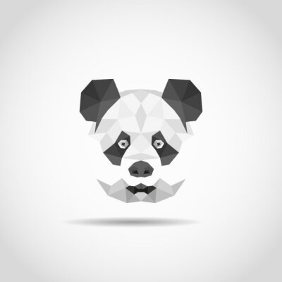 Affisch Moderna panda i polygonal stil