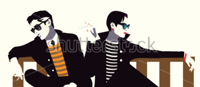 Affisch Modig man och kvinnan i stil popkonst.