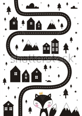 Affisch Monochrome Scandinavian vector maze. Cartoon roads with house, tree and car for kids. Vector maze cartoon poster. You can use it to print on the carpet for the decor of the children's room.
