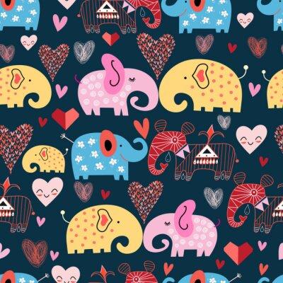 Affisch mönster av elefanter i molnen