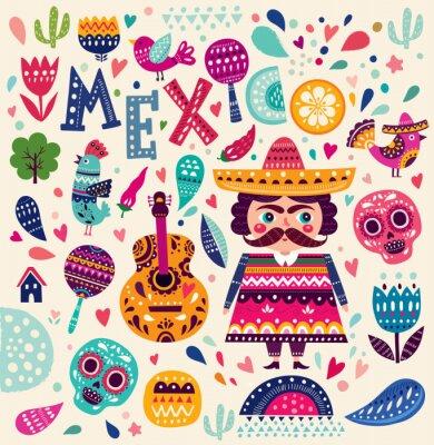 Affisch Mönster med symboler i Mexiko