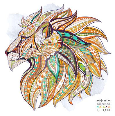 Affisch Mönstrad chef för lejon på grungebakgrund. Afrikansk / indiska / totem / tatuering design. Den kan användas för konstruktion av en t-shirt, väska, vykort, en affisch och så vidare.