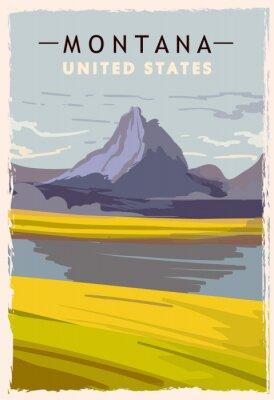 Affisch Montana retro poster. USA Montana travel illustration. United States of America greeting card. vector illustration.