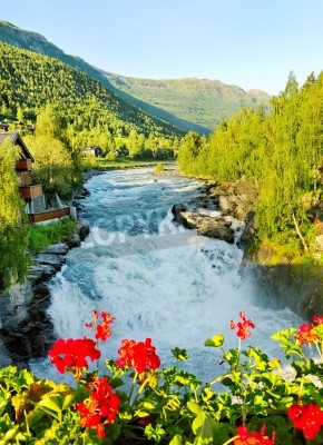 Affisch Morgon över Bovra floden i Norge.