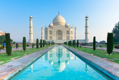 Affisch Morgonen vy av Taj Mahal monument